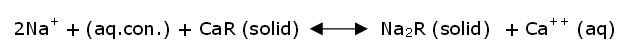 Water Softener Reaction formula, equation
