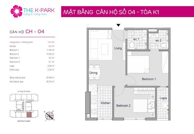Thiết kế căn hộ 04-K1 chung cư THE K-PARK