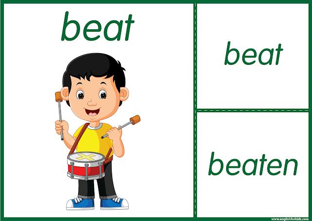 Irregular verb beat - printable ESL flashcards
