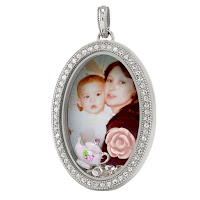 LEGACY SILVER OVAL PHOTO LIVING LOCKET WITH SWAROVSKI CRYSTALS available at StoriedCharms.com