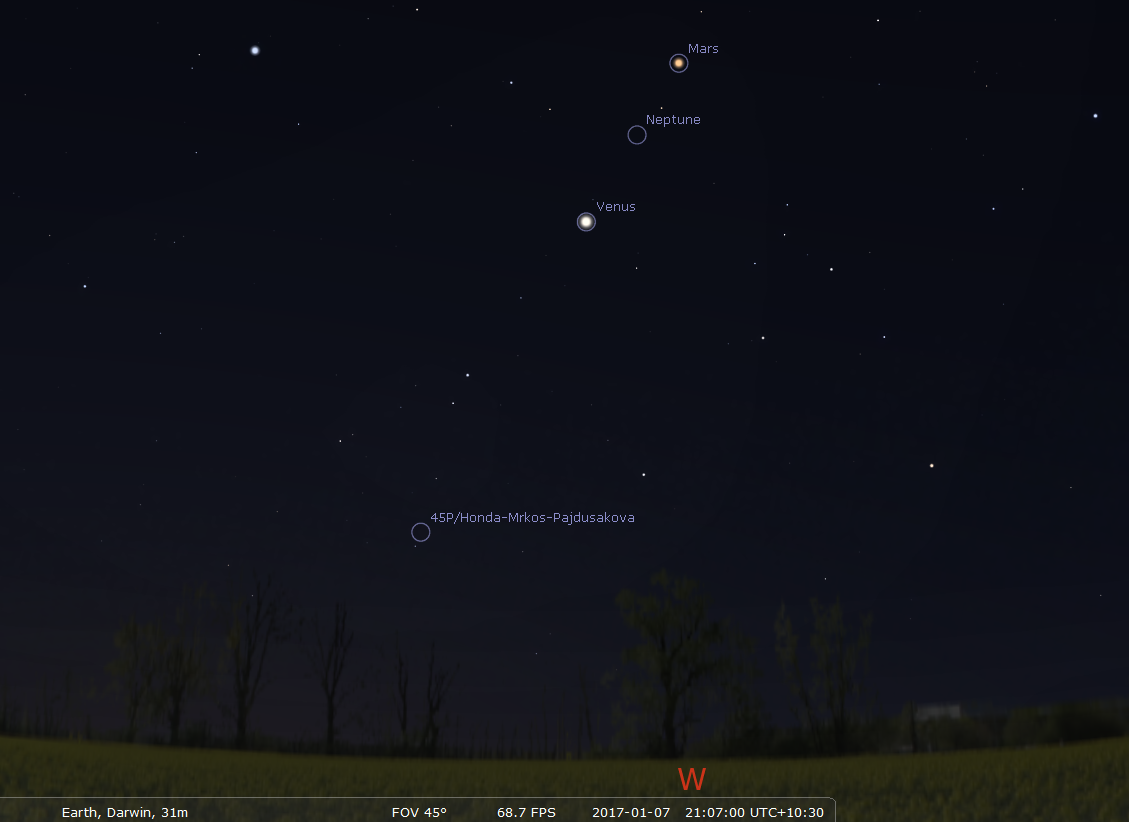 Evening sky on saturday january 7 looking west as seen from adelaide at 21 38 acdst 60 minutes after sunset venus and now dim mars form a line with