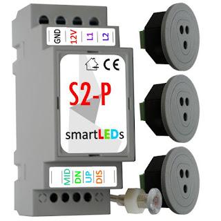 Sterowanie oswietleniem LED schodów. Sterownik schodowy LED (Inteligentny automat schodowy do LED) + 2 schodowe optyczne czujniki odległości i ruchu do LED 12V 100cm
