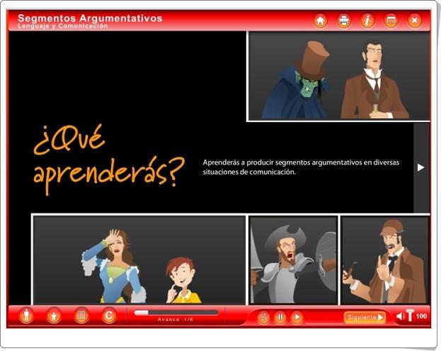 """""""Segmentos argumentativos"""" (Aplicación interactiva de Lengua Española de Secundaria)"""
