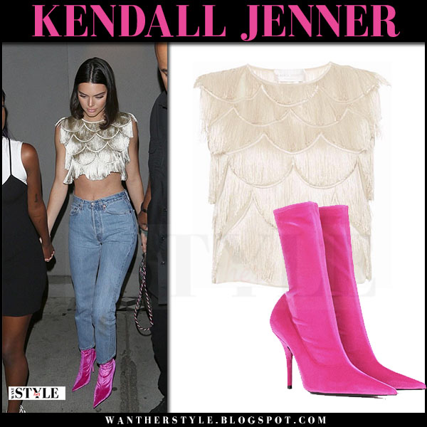 Kendall Jenner in fringed crop top and pink velvet boots balenciaga knife what she wore june 25 2017