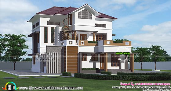 A house looks like two houses, one a single floor house + two a double storied house along with