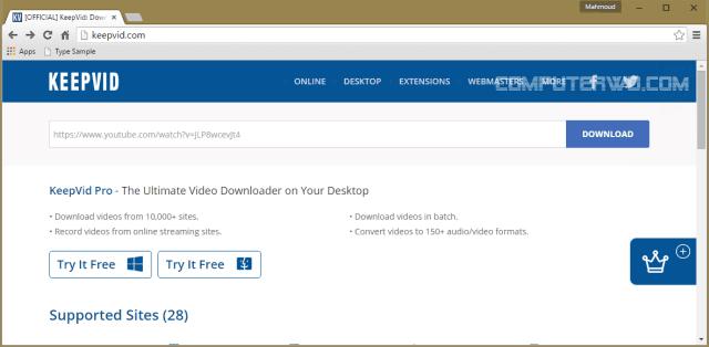 موقع مميزومجانى لتحميل مقاطع الفيديو من اي موقع او صفحة انترنت اون لين