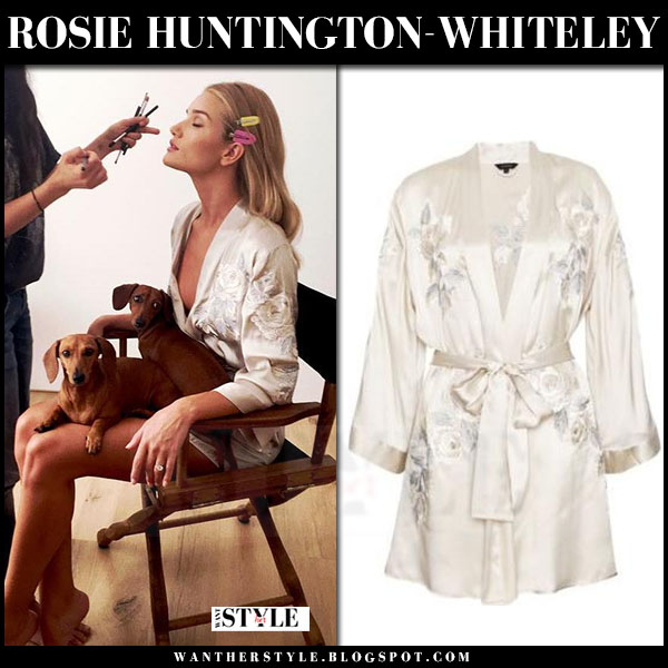 Rosie Huntington-Whiteley in silk embroidered kimono rosie for autograph what she wore