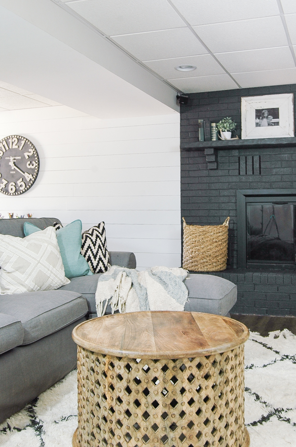 modern industrial farmhouse basement makeover