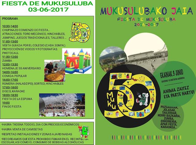 Cartel de fiestas del colegio Mukusuluba