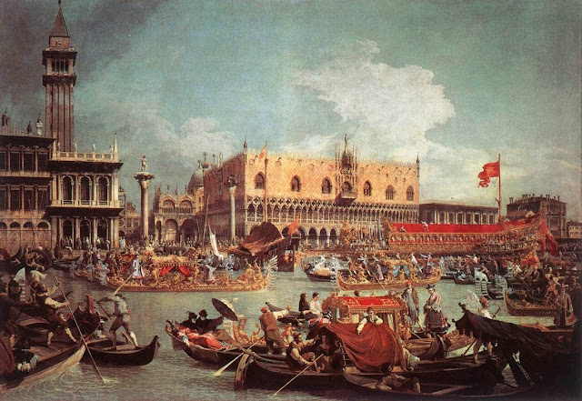 Painting of the Bucintoro returning to the Molo on Ascension Day by Canaletto