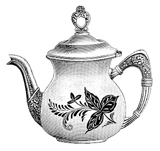 teapot kitchen image antique illustration digital transfer