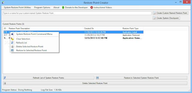 تحميل برنامج انشاء نقطة استعادة نظام للكمبيوتر Restore Point Creator 3.9
