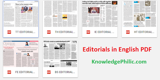 Editorials in English January [The Hindu, Times of  India, Indian Express, Hindustan Times, Business Standard ] 2018 PDF Download