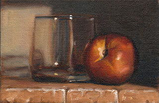 Oil painting of a nectarine beside an Old Fashioned glass.