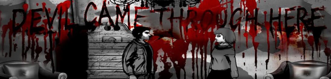"""Un hombre y una mujer están enfrentados en una habitación con las paredes llenas de sangres y una pintada que reza """"Devil came through here""""."""