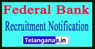 Federal Bank Recruitment Notification 2017