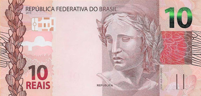 Brazilian Currency 10 Reals banknote 2010 Effigy of the Republic