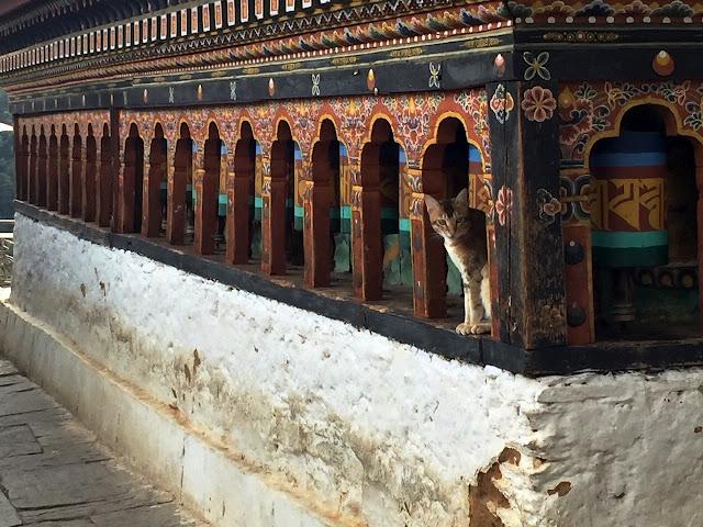 Prayer wheels Bhutan monastery