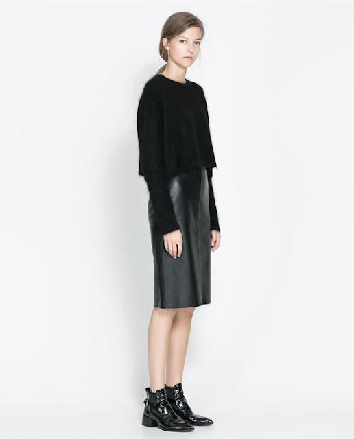 taglia 40 c8de2 3cab7 La Petite Robe Noire: La gonna midi tubo in pelle #Zara ...