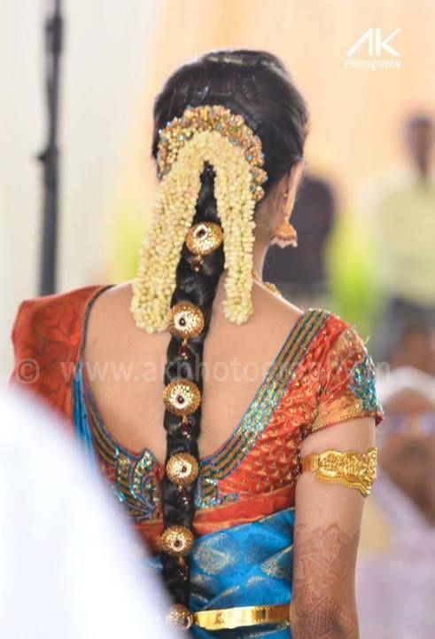 Tamilnadu Bridal Hairstyle : Latest indian wedding silk saree jewellery hair