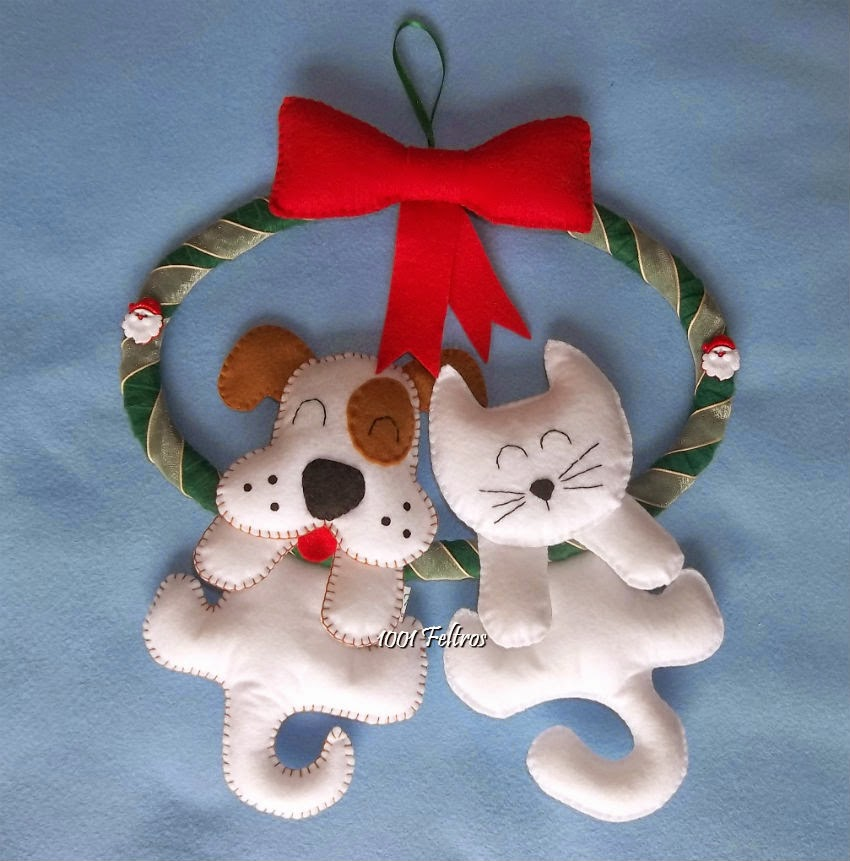 Artesanato Tecido Franzido ~ 1001 Feltros Guirlandas de Natal com gatinhos e cachorrinhos