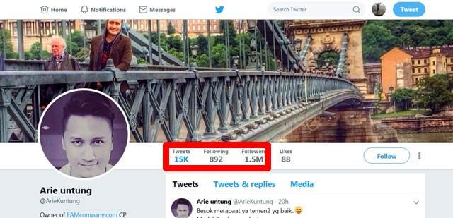 Banyakan Mana Follwer Arie Untung dan Ernest Prakasa di Twitter ?