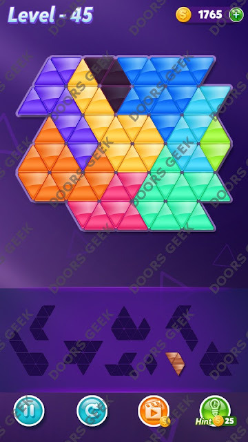 Block! Triangle Puzzle 9 Mania Level 45 Solution, Cheats, Walkthrough for Android, iPhone, iPad and iPod