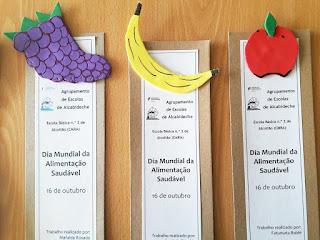 Três marcadores elaborados pelos alunos de Alcoitão