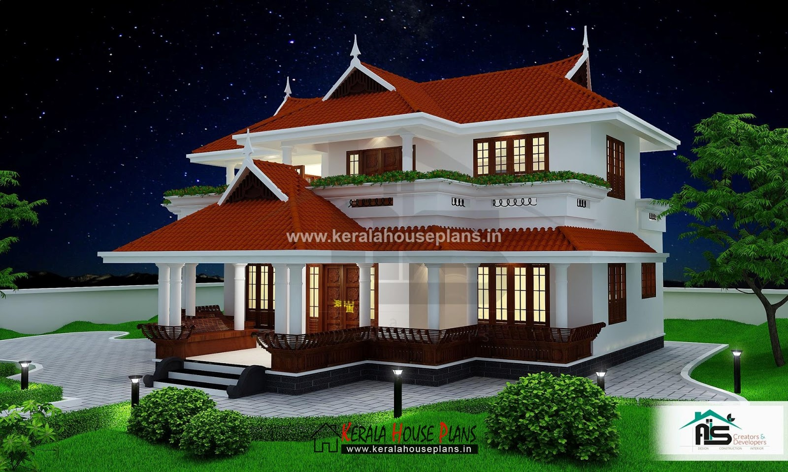 Veedu plan kerala traditional style home kerala house for Veedu elevation