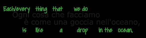 Ogni cosa (each/every thing) che facciamo (that we do) è come (is like) una goccia nell'oceano (a drop in the ocean)