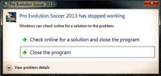 حل مشكلة الخروج من لعبة Pes 2013 قبل بدء المباراة أو عند عمل