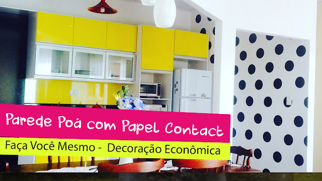 parede cozinha com papel contact efeito poá bolinhas diy econômico barato rápido