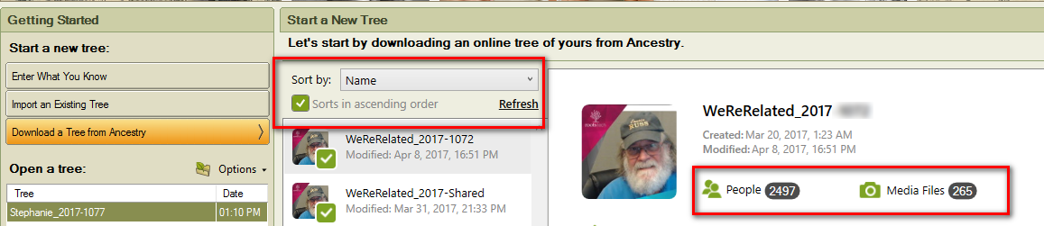 there is a sort by will show in a minute the filename information about the amt the number of people in that tree and the number of media files