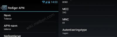 Internett Oppsett Telenor Android HTC Galaxy