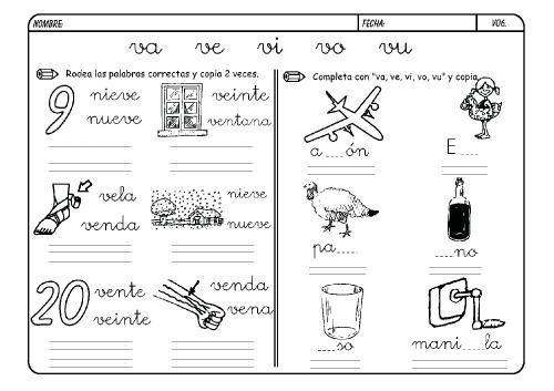 Lista De Palabras Con V Para Colorear Material Para Maestros