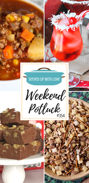 Weekend Potluck featured recipes include Hamburger Soup, Nuts and Bolts The Original Chex Mix, Coca Cola Fudge, Santa's Hat Shirley Temple, and Copycat Berger Cookies.