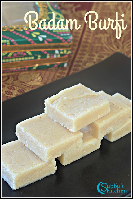 Badam Burfi | Almond Burfi | How to make Badam Burfi