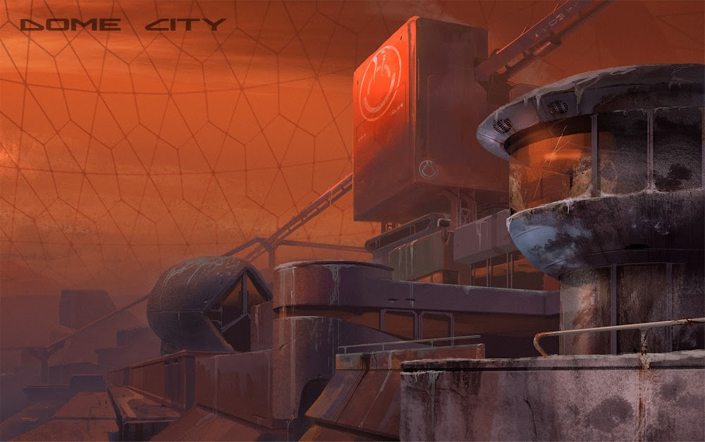 Concept art for Dome City game on Mars - buildings