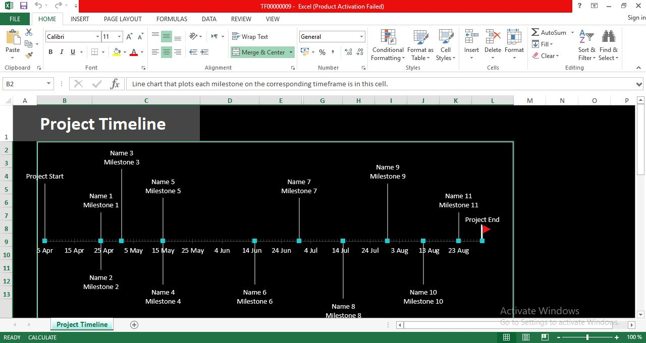 Project Timeline With Milestones Excel Template