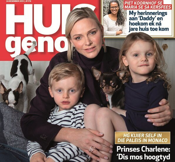Princess Charlene, Prince Jacques and Princess Gabriella on the cover of December issue of Huisgenoot. Ponchi poncho South Africa brand