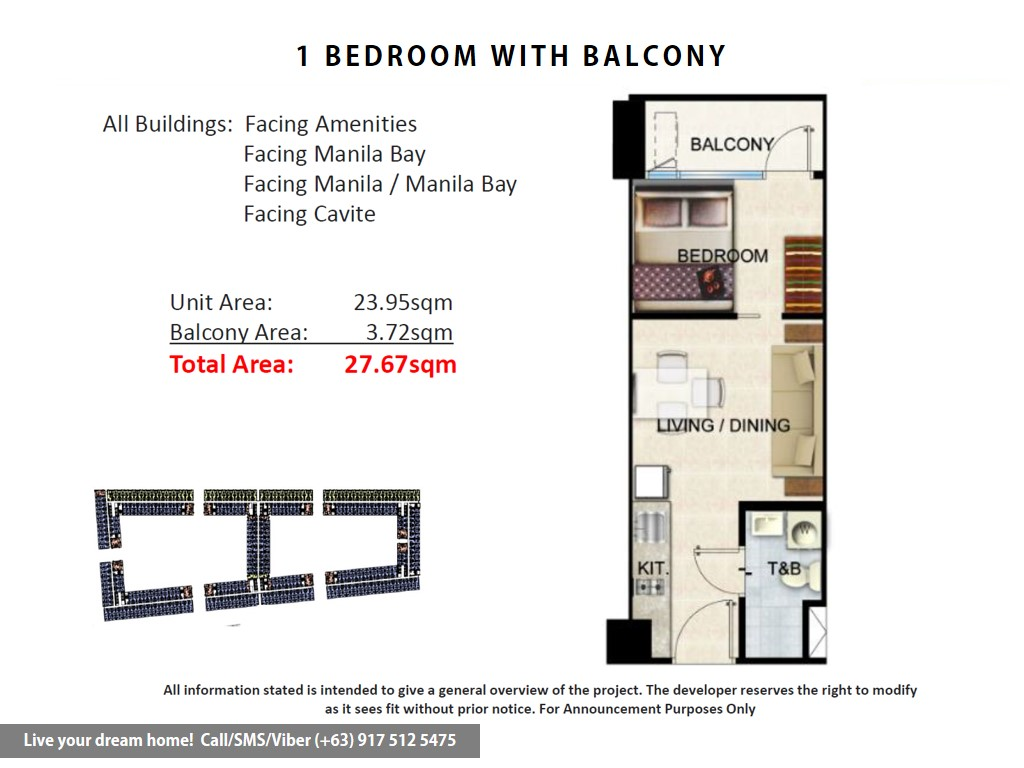 Floor Plan of SMDC Shore Residences - 1 Bedroom With Balcony | Condominium for Sale SM Mall of Asia Pasay