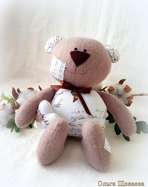 мишка, медвежокок, ручнаяработа, изфлиса, хлопок, цветыхлопка, мягкаяигрушка