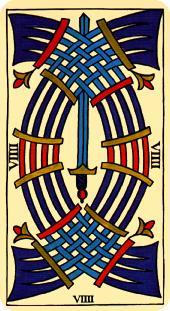 Tarot Marsella: Carta Nueve de Espadas