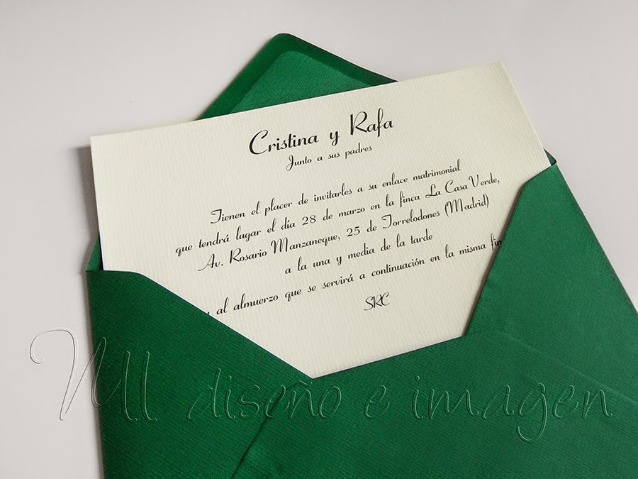 Invitacion de boda clásica verde