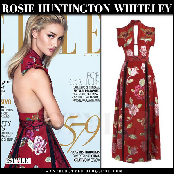 Rosie Huntington-Whiteley in red floral silk gown burberry elle brasil september 2016 cover