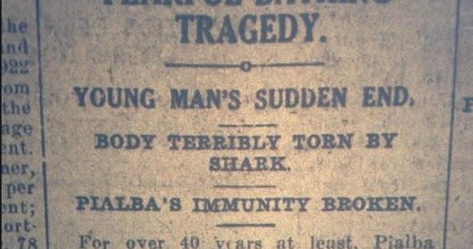 The deep dark mysteries of our waterways ... a shark or two 1920 - today