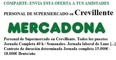 Crevillente, Alacant, Alicante. Lanzadera de Empleo Virtual. Oferta Mercadona