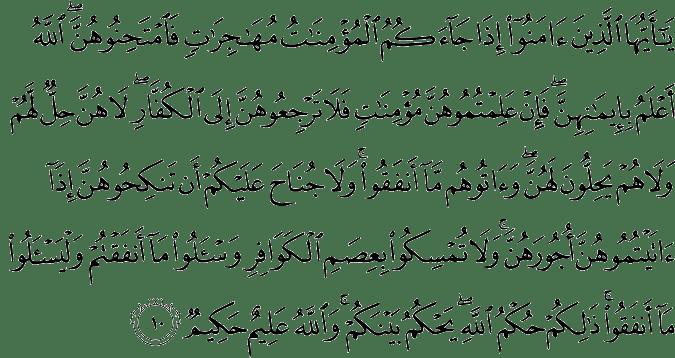 Surat Al Mumtahanah Ayat 10