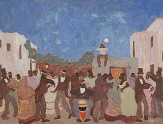 Pintura de Figari llamada Candombe, en la cual se observan personas negras tocando el tambor y bailando.