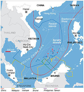 This map shows the claims of each country in South China Sea